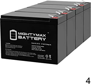 Mighty Max Battery 12V 10Ah Scooter Battery for Enduring 6 DZM 10, 6DZM10-4 Pack Brand Product
