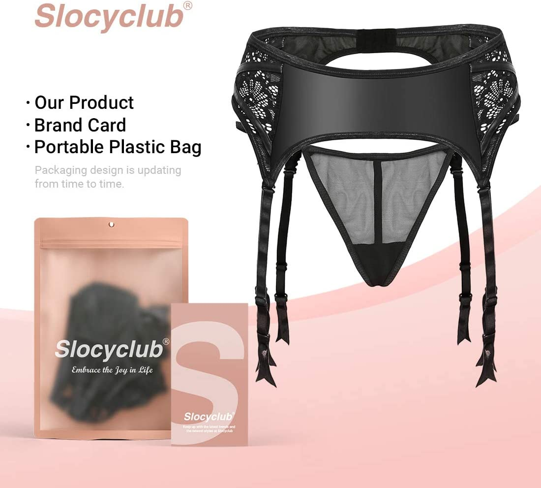 Black, 3XL Slocyclub Womens High Waisted Garter Belt Semi Lace Hollow Out Suspender Belt