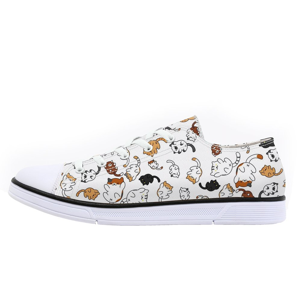 FIRST DANCE Classic Canvas Shoes Cute Cat Print Sneaker Low Top Lace up Lightweight 9US