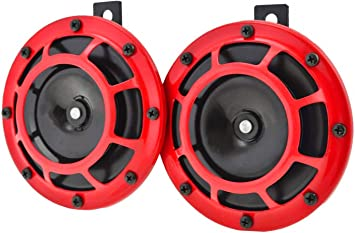 YONEDA Electric Grill Mount Car Horns 12V Premium Quality Dual Supertone Horns Red Protective Grills Electric Loud Car Horn Kit High and Low Tone Twin Disc Horns Weather Resistant Horn Replace