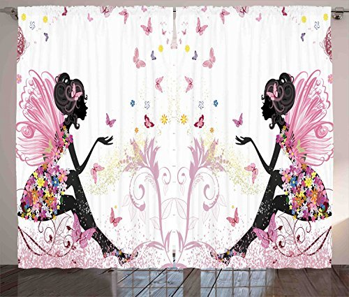 Red Vow Girls Curtains, Fairy Girl with Wings in a Floral Dress Magical Fantasy Garden Flying Butterflies, Curtain for Bedroom Dining Living Room 2 Panel Set, 80