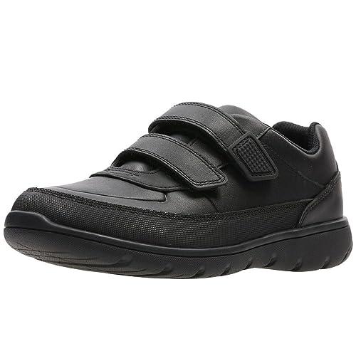 c1a80cf79d3 Clarks Venture Walk Boys Junior Leather Rip Tape Trainer School Shoes 2 F  UK Black
