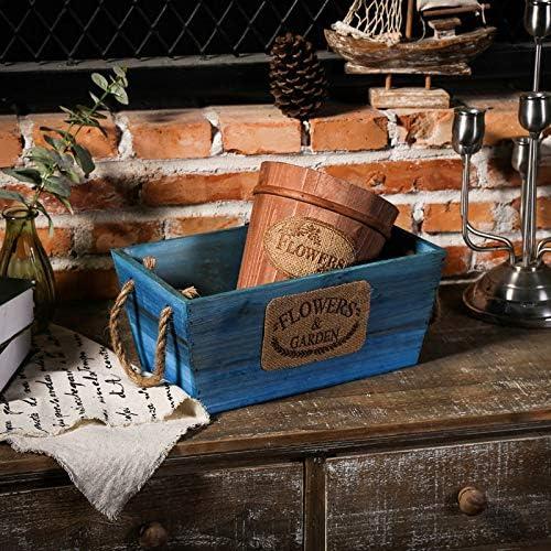 自然な木の花のかいばおけ/植木鉢、トラフプランターを掛ける,Brown/Blue-B-30×7.5×12cm