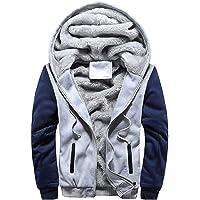 BHYDRY Mens M-5XL Hoodie Winter Warm Fleece Zipper Jacket Patchwork Outwear Coat