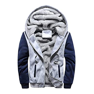 a406893b117 BHYDRY Mens M-5XL Hoodie Winter Warm Fleece Zipper Jacket Patchwork Outwear  Coat(M