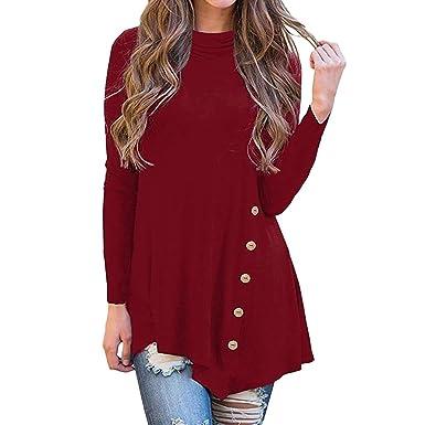 463083b7f Lenfesh Blusa Botón de Manga Larga Irregular para Mujer Camisa Larga ...