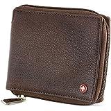 Alpine Swiss Mens Leather Zip Around Wallet ID Card Secure Zipper Bifold Antique Brown