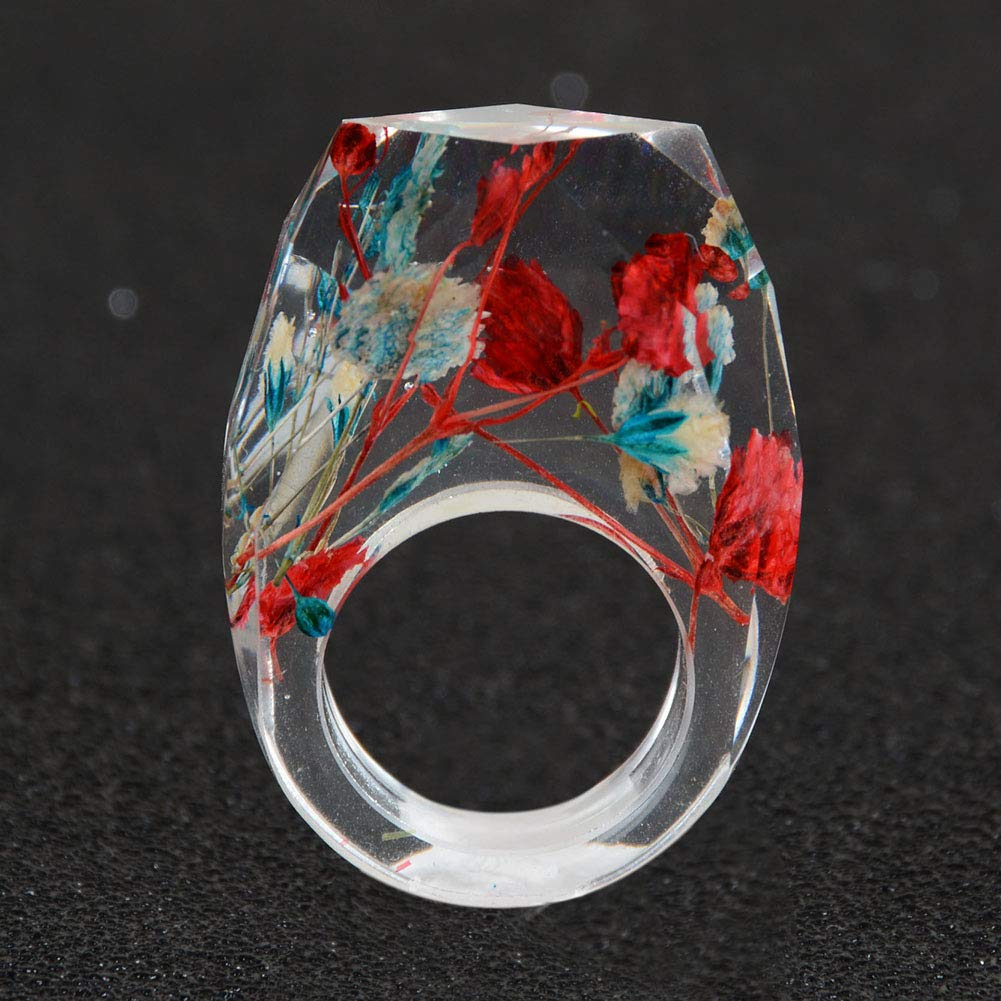 Acchen Real Pressed Flower Dried Flower Resin Wooden Ring Finger Rings