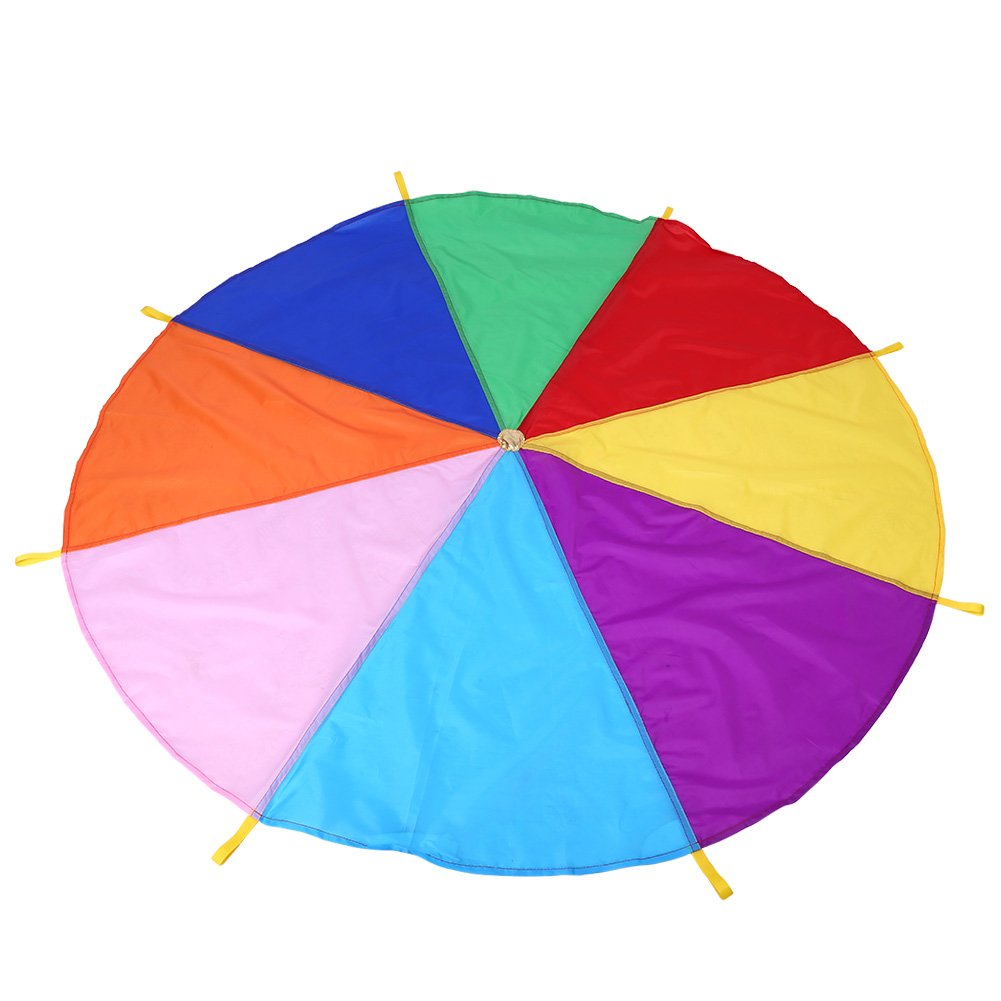 Rainbow Parachute Kids Toy Multicolored Play Tent With 8 Handles Schoolkids Children Outdoor Teamwork Exercise Game 2 Meters