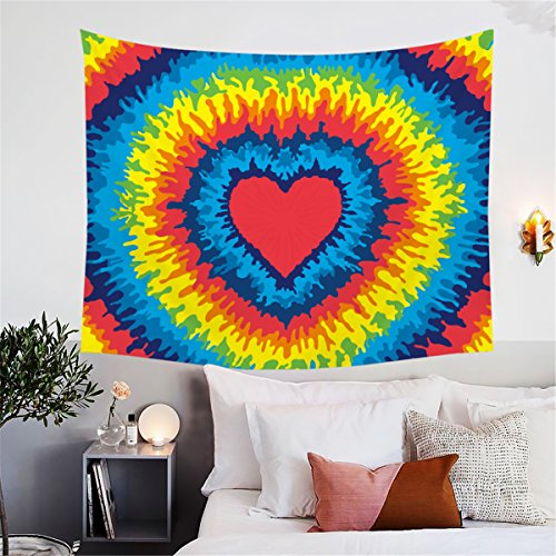 (BlessLiving Tie Dye Tapestry Rainbow Tye Dye Red Heart Tapestries Wall Hangings Hippie Tapestry for Bedroom Living Room Dorm (80 x 60 Inches))