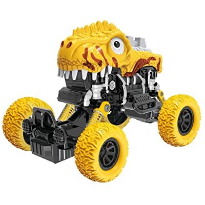PBOX Dinosaur Monster Truck Toys, Pull Back Cars with Shockproof Spring and Textured Rubber Tires, Toddler Toy Cars for Aged 3-12 Year Old Boys & Girl Vehicles Gift (5): Toys & Games