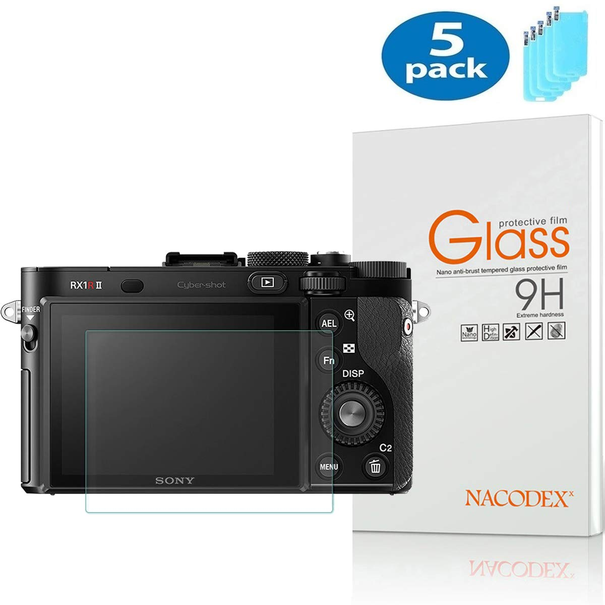 [5個パック]Sony Cyber-Shot DSC-RX1 RX1RII対応スクリーンプロテクター、Nacodex傷防止強化ガラス、Sony RX1 RX1R RX1RM2デジタルカメラ用。   B07J1XRDBJ