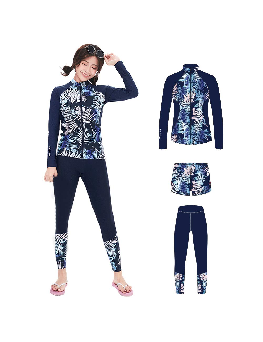 VECTOR 3 Pcs Women's Wetsuit Long Sleeve Swimsuit Watersports Diving Suits Snorkeling Swimming Sun Protection(D-Cardigan,M)