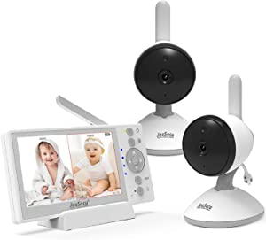 Baby Monitor 2 Camera 4.3 Inches LCD Split Screen 1000ft Range Rechargeable Battery with 2 Way Audio Temperature Detection Baby Crying Detection Night Vision
