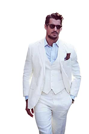 57ea844363 Image Unavailable. Image not available for. Color: White Men's 3 Piece  Suits Casual Two Buttons Suits Slim Fit Groom Tuxedos Prom Blazer Custom