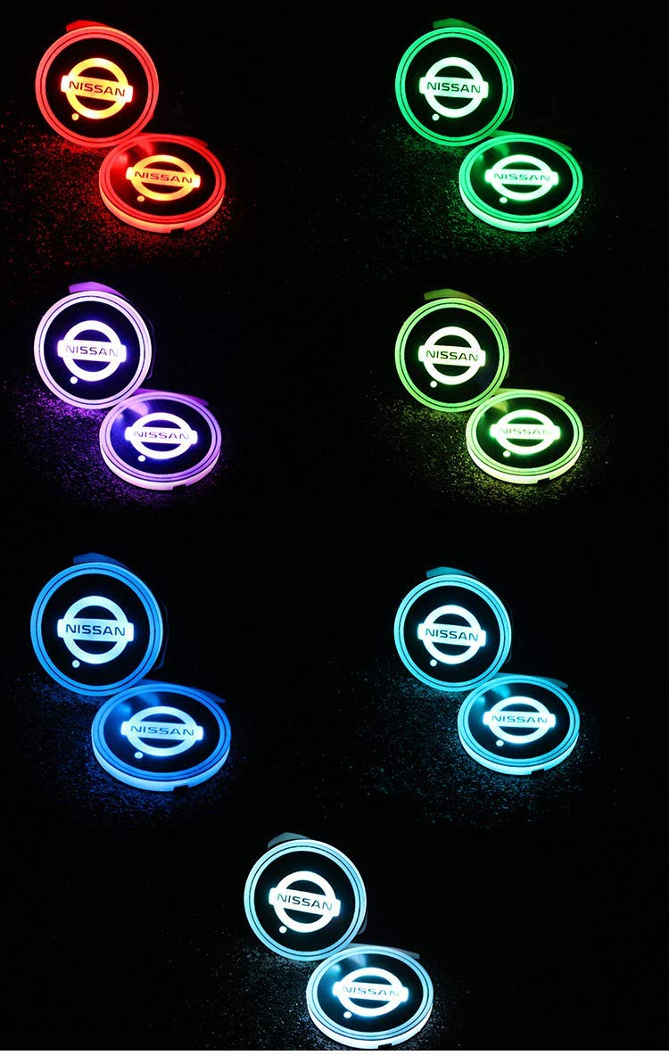 LED Interior Atmosphere Lamp 2pcs LED Car Cup Holder Lights for Mus tang 7 Colors Changing USB Charging Mat Luminescent Cup Pad