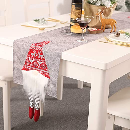 Chemin de Table du P/ère No/ël sans Visage 3D Nappe GNOME JiuRong Chemin de Table de No/ël D/écoration de Table Cr/éative pour Salle /à Manger