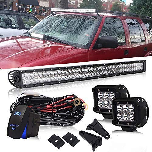 (DOT 42Inch 240W Led Light Bar On Grill Windshield Bumper + 4Inch Driving Fog Lights W/Wiring Harness Rocker Switch for Toyota Tacoma SUV ATV Truck Jeep Wrangler Polaris RZR Dodge Offroad)