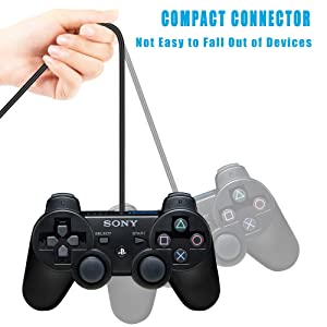 2Pcs Pack PS3 Controller Charger Charging Cable Sync Cord, 3M 10ft Mini USB Charge and Play Cable for PS Move/PS3/PS3 Slim Wireless Controller (Color: 2 Pack)