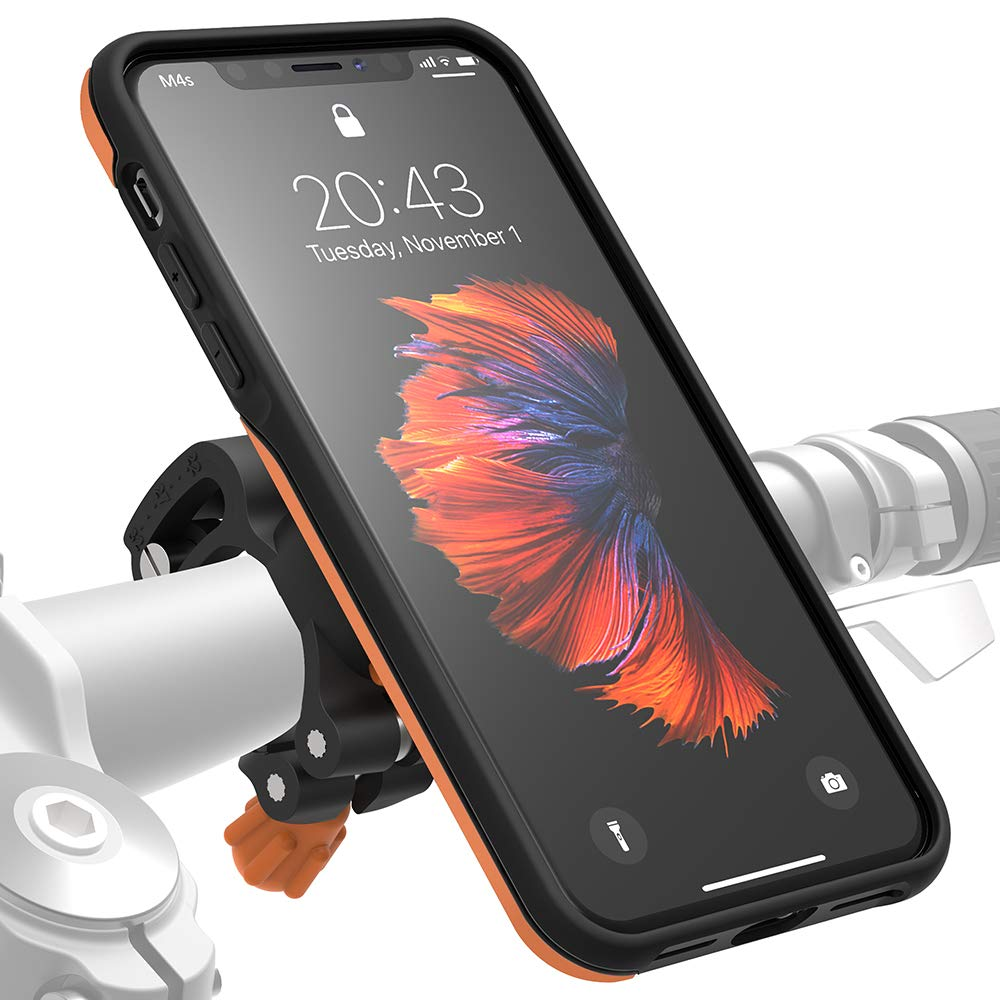 MORPHEUS LABS M4s iPhone Xs Max Bike Mount, Phone Holder & iPhone Xs Max Case, Bicycle Cell Phone Holder, Adjustable, fits Most Handlebars, 360 Rotation Stand, Bike Kit for iPhone Xs Max [Orange] by MORPHEUS LABS