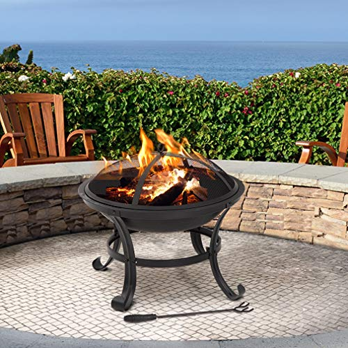 Outdoor fire Pit 22″ Round FirePit Metal Fire Bowl Fireplace Backyard Patio Garden Stove for Outdoor Heating, Bonfire, Camping
