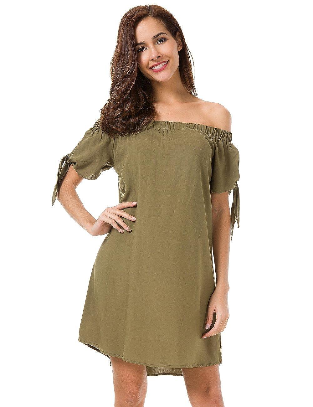 61fcdffd06d7 MRLZ Womens Off Shoulder Dress Loose Short Sleeve Strapless Mini Shirt  Dresses at Amazon Women s Clothing store