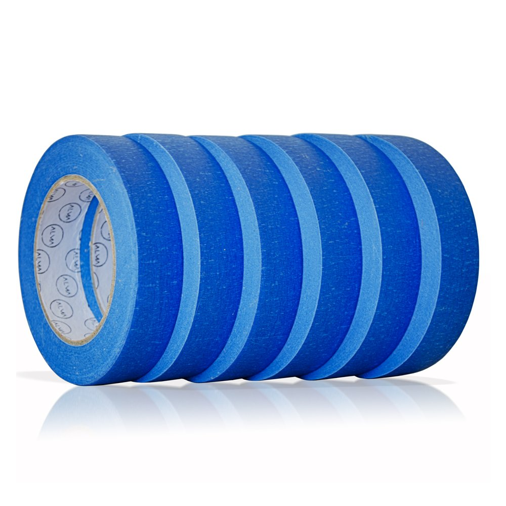 Blue Painters Tape 1 inch. x 60 yd. | 6 pack | Multi Surface Use | Clean Release Trim | No Residue (.94 IN 24MM) by ALMA SUPPLIES