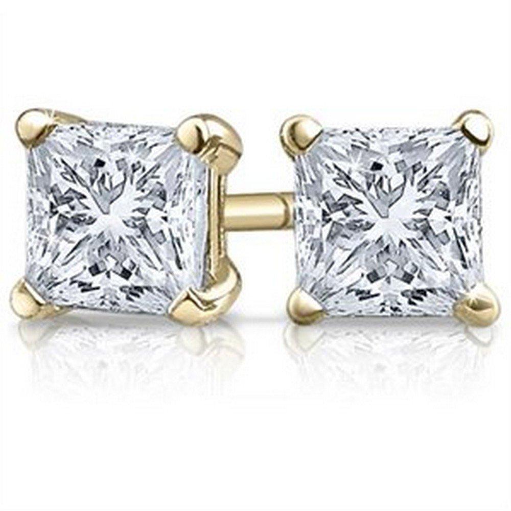 1 Carat 18K Yellow Gold Solitaire Diamond Stud Earrings Princess Cut 4 Prong Push Back (I-J Color, VS1-VS2 Clarity)