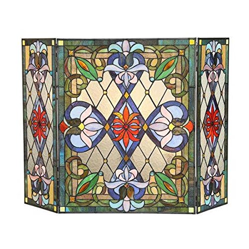 Chloe CH3F324VG44-GFS 44 in. Lighting Izzy Tiffany Glass 3 Piece Folding Victorian Fireplace Screen Victorian Fireplace Tool Set
