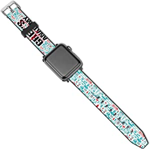 LARDUOR Grey's Anat-omy Strap Compatible with Apple Watch Band 38mm 40mm 42mm 44mm Leather Replacement Wrist Strap Compatible for Men Women iWatch SE Series 6/5/4/3/2/1