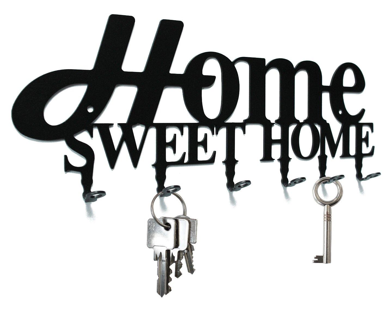Key holder - '' Home Sweet Home - design '' - beautiful key hook for wall - 6 hooks - metal - black