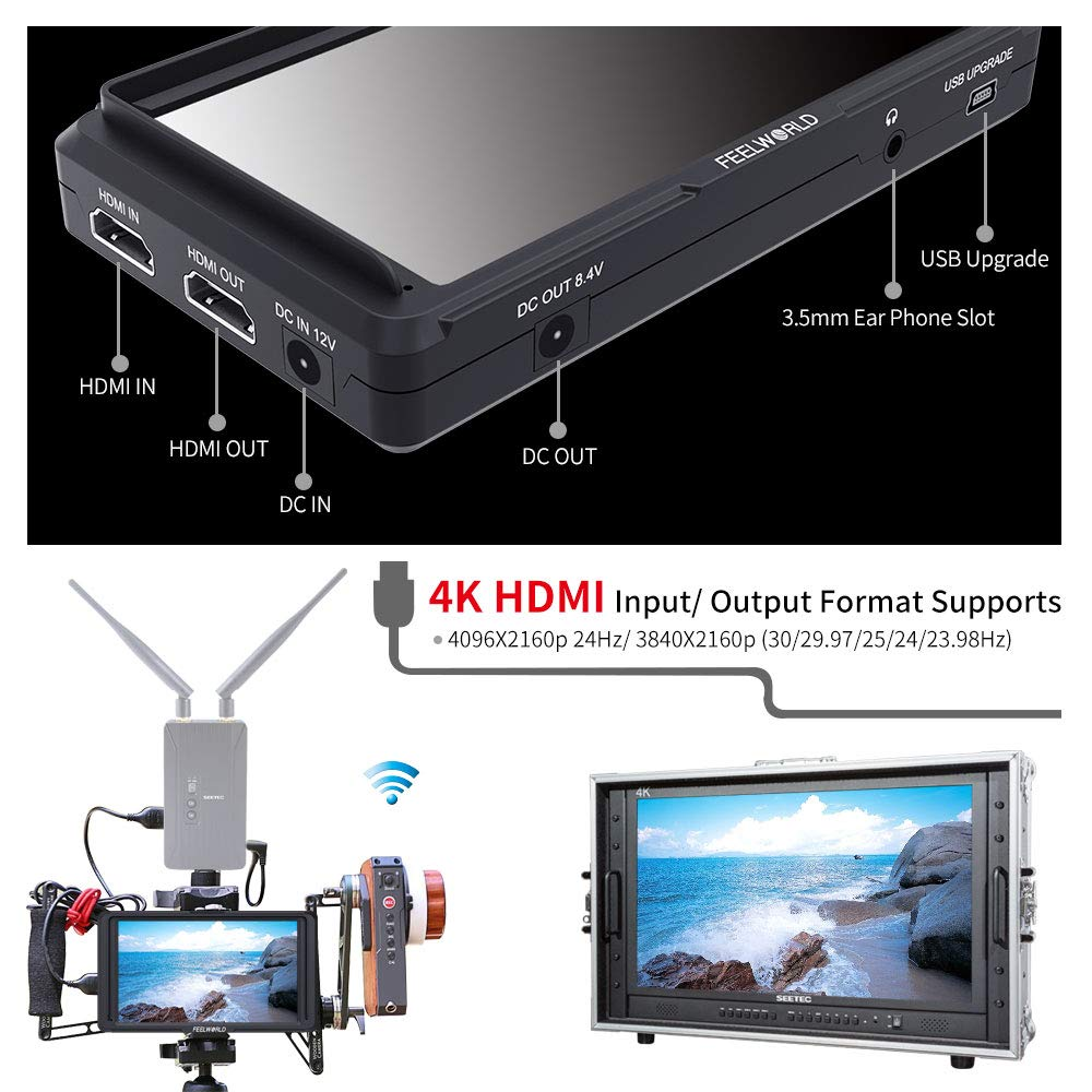 FEELWORLD F570 5.7 Inch On Camera Field DSLR Monitor Small HD Focus Video Assis 4K HDMI Input Output Full HD1920x1080 Rugged Aluminum Housing