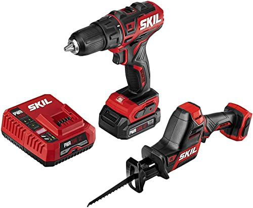 SKIL 2-Tool Combo Kit PWRCore 12 Brushless 12V 1 2 Inch Cordless Drill Driver and Compact Brushless Reciprocating Saw, Includes 2.0Ah Lithium Battery and PWRJump Charger – CB742601