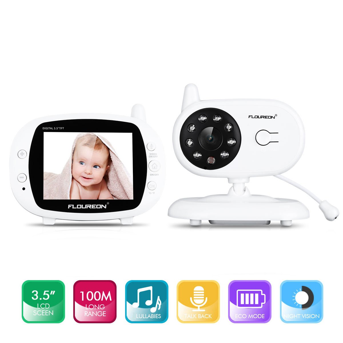 FLOUREON Video Baby Monitor Wireless Camera for Security, 3.5\