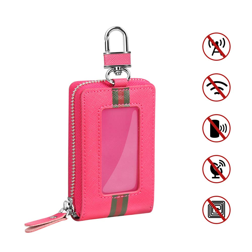 Aukee Faraday Bag for Remote Key Fobs Case RFID Signal Blocking Pouch Anti-Theft Anti-Hacking Rose 1 Pack