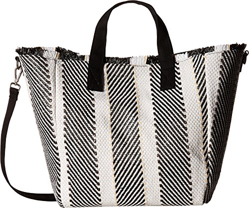 Steve Madden Rumi Multi Colored Woven GEOMTRIC Pattern Beach Tote with Zipper Pouch, Black ()