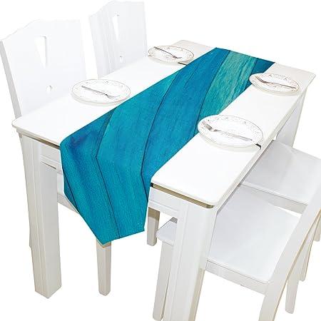 ALAZA Camino de mesa, decoración del hogar, elegante azul turquesa ...
