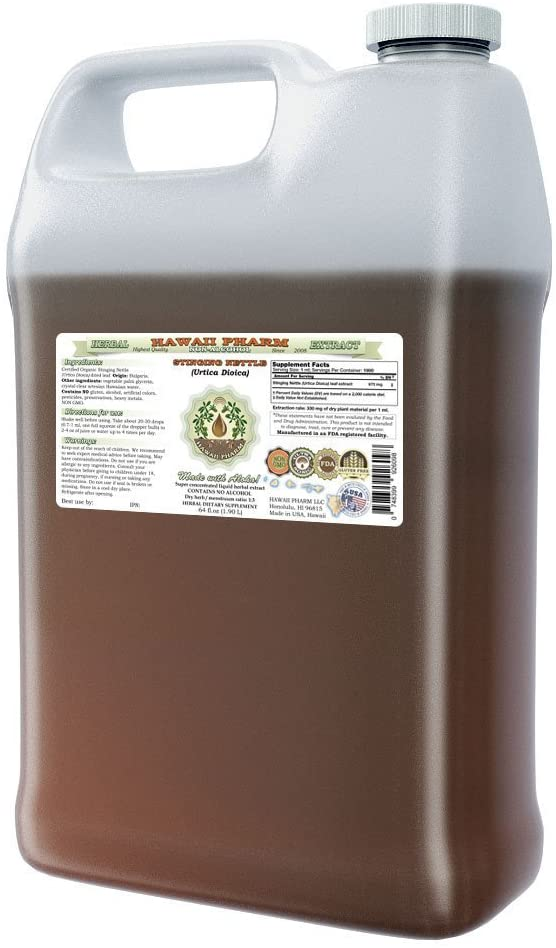 Stinging Nettle Alcohol-FREE Liquid Extract, Organic Stinging Nettle Urtica Dioica Dried Leaf Glycerite 64 oz