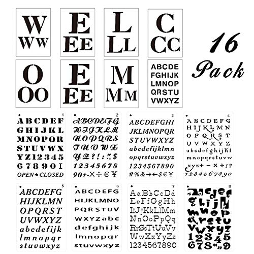 Welcome Stencils for Painting on Wood, 8 Welcome Sign Letter Templates Plus 8 Alphabet Stencils with Numbers and Signs, Reusable Plastic Art Craft Stencils for Front Door Entry Porch Sign & Home Decor