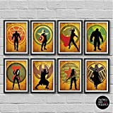 The Avengers Minimalist Poster Set 8 Marvel superheroes Movie Print Captain America Iron Man Thor Hulk Black Widow Hawkeye Nick Fury Winter Soldier Bucky Barnes Artwork Wall Art Home Decor -  Cubic Prints