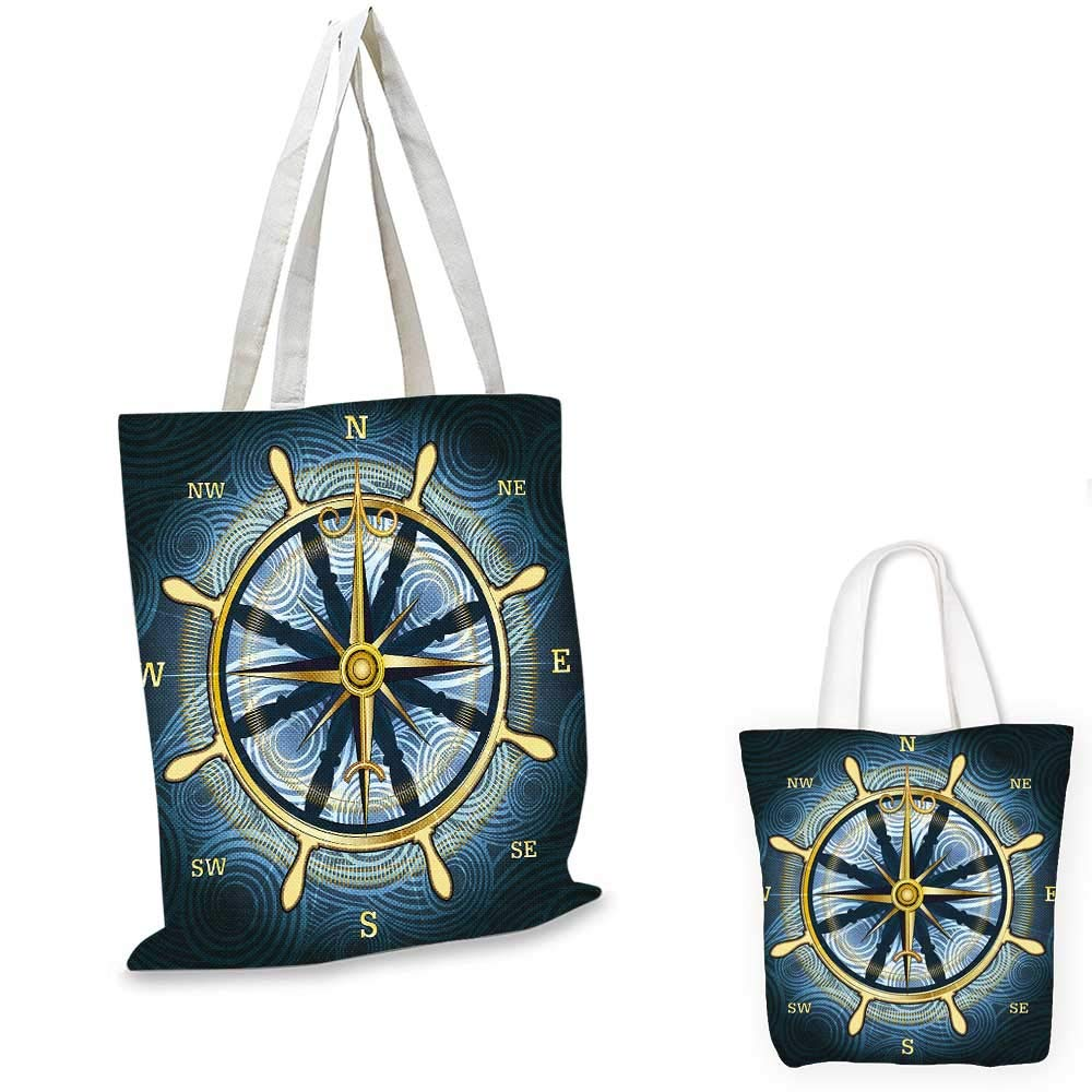 16x18-13 Compass canvas messenger bag Retro Design Windrose with Anchor and Chains Marine Elements of Navigation canvas bag shopping Forest Green Red