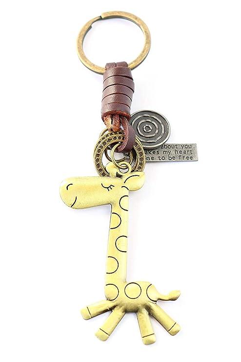 YUHUS Regalo divertido llavero jirafa |Mujeres y hombres de ...
