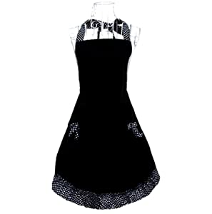 Hyzrz Cute Polka Dot Flirty Black Aprons with Pockets for Women Girls Vintage Kitchen Cooking Apron
