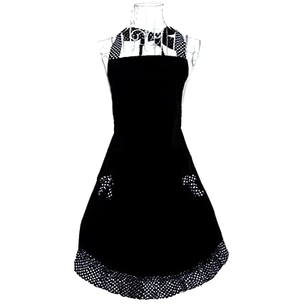 bc823ba61 Amazon.com: Hyzrz Cute Polka Dot Flirty Black Aprons with Pockets ...