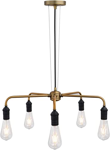 Phansthy 5 Light Industrial Ceiling Light Spider Chandelier Light, Antique Finish Light Arm and Matte Black Holder