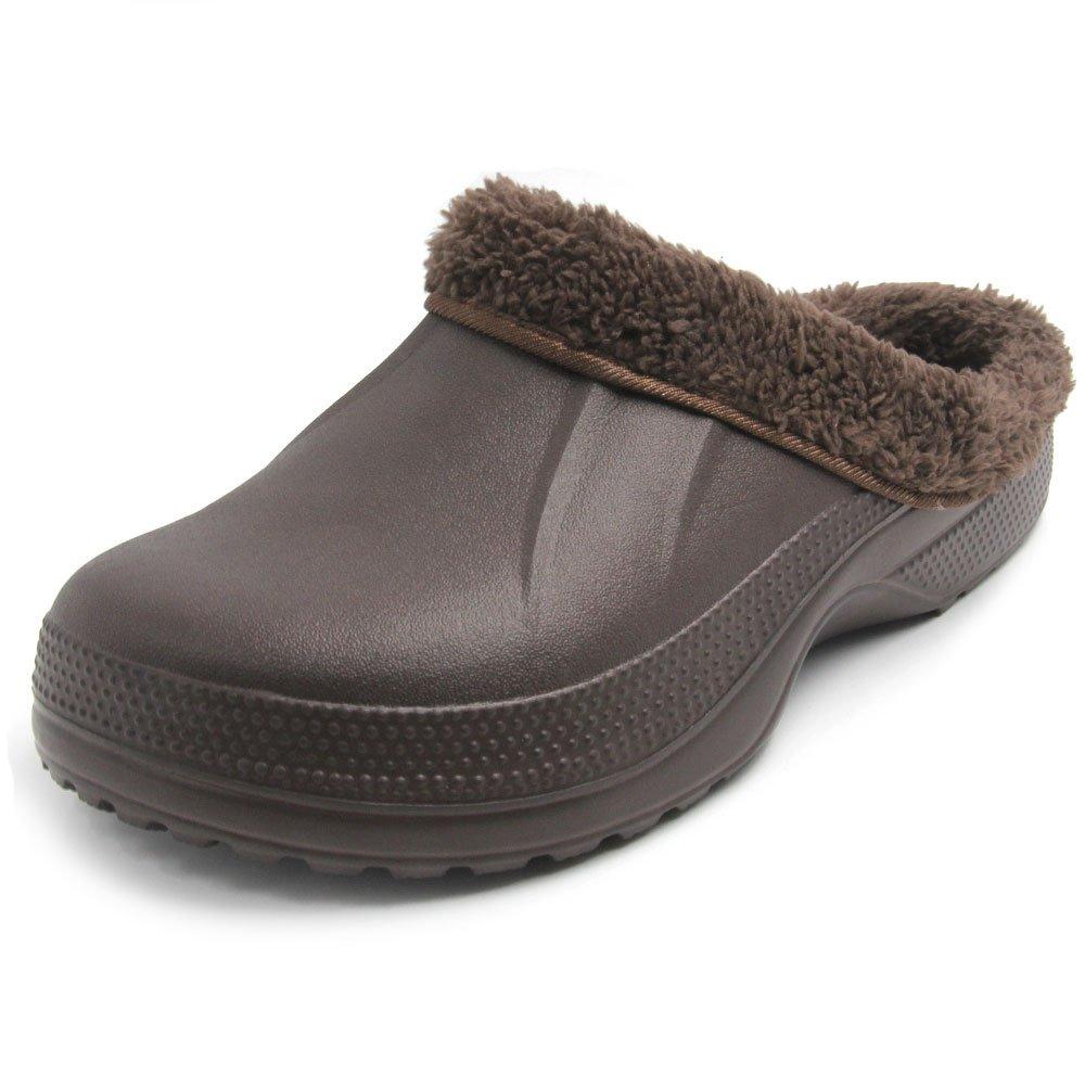Amoji Slippers House Home Shoes Room Indoor Winter Warm Fur Lined Fleece Clogs Fuzzy Fleece Slip On Comfort Women Men Ladies Girls Boy(6-7 US Women/4-4.5 US Men, Brown)