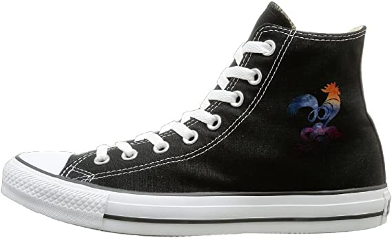 Shenigon Color Cock Canvas Shoes High Top Sport Black Sneakers Unisex Style