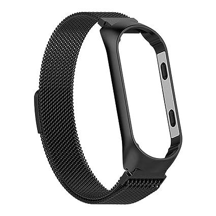 Bearbelly | Compatible para Xiaomi Mi Band 4 Correa de Repuesto, Reloj Inteligente Mujer Hombre Milanesa Metalizado Metal Pulsera Deportiva Cerradura ...