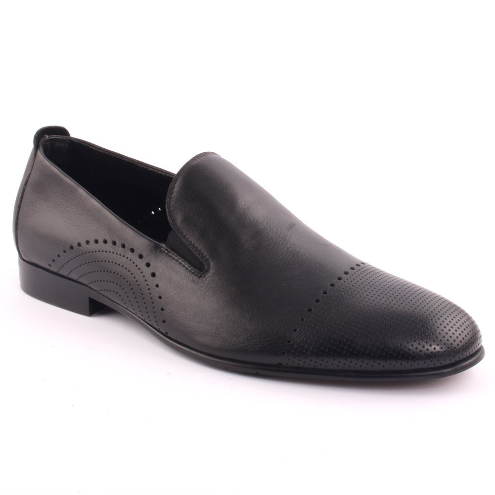 Unze Men's 'Kairho' Leather Perforated Formal Slip-on Prom Wedding Party Office Oxfords UK Size 7-11 - A001-1-2