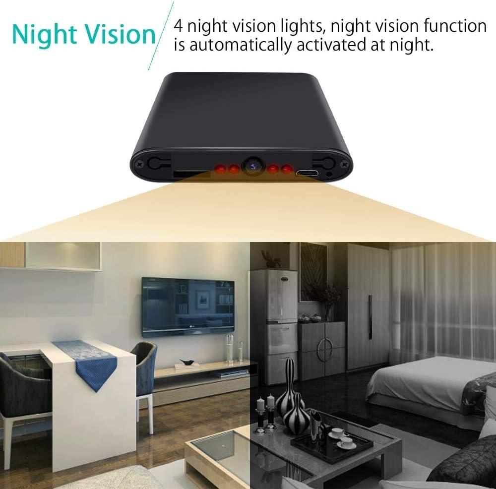 C/ámara Esp/ía Oculta Mini DV HD 4K 1080P WiFi Visi/ón Nocturna Detecci/ón de Movimiento Luz LED Inteligente Pantalla Digital PowerBank C/ámara Secreta Compacta